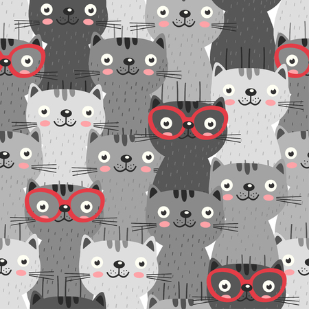 seamless pattern with gray cats in red glasses - vector illustration, eps