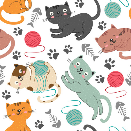 Seamless pattern with cheerful cats - vector illustration.