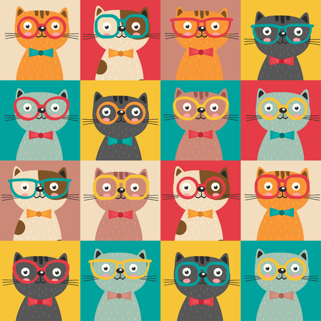Seamless pattern with colorful cats in squares - vector illustration, eps Illustration