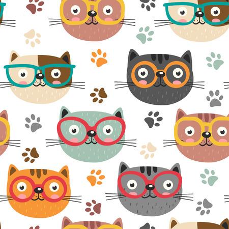 귀여운 얼굴로 원활한 패턴 고양이 - 벡터 일러스트 레이 션, 분기 EPS 일러스트