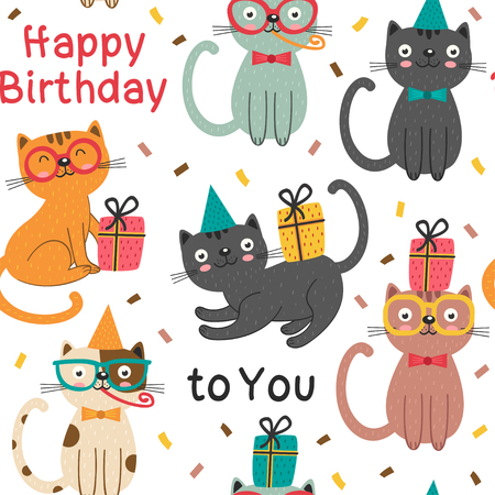 A seamless pattern with Happy Birthday cats - vector illustration background design Illustration