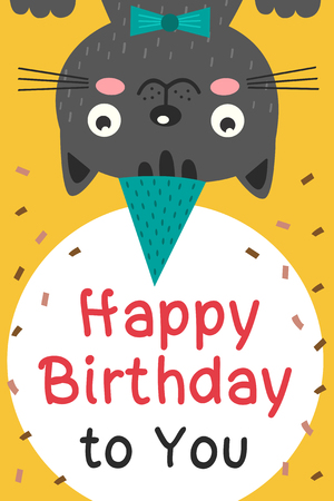 Happy Birthday card with black cat - vector illustration, eps Illustration