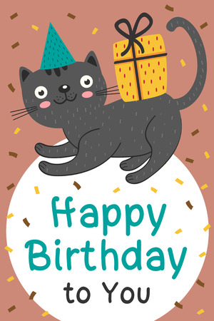 Happy Birthday card with black cat and gift - vector illustration, eps