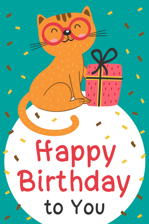 Happy Birthday card with cat and gift design - vector illustration