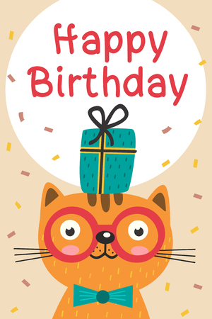 Happy Birthday card with cat in glasses and gift - vector illustration.