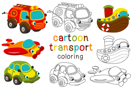 Set of isolated cartoon transport with eyes part 1 - vector illustration for coloring book