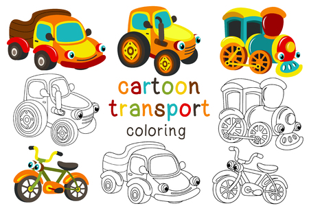 set of isolated cartoon transport with eyes part 2 - vector illustration, eps Illustration