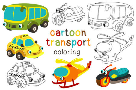 Set of isolated cartoon transport with eyes part 3 - vector illustration, for coloring book Illustration