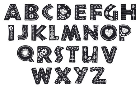 Decorative alphabet in Scandinavian style.