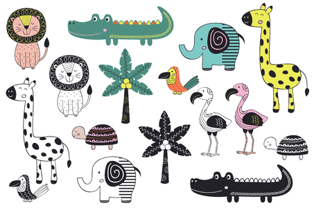 Set of jungle animal. Illustration