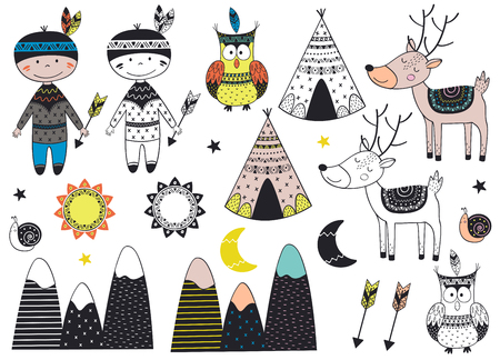 set of isolated tribal boy and animals in Scandinavian style - vector illustration, eps