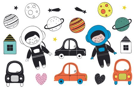 Set of isolated objects like boys, cars in different colors, planets, houses and hearts. Vector illustration. Illustration
