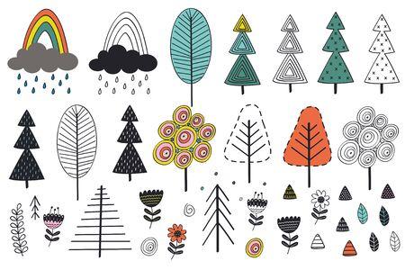 ensemble d'arbres isolés et d'éléments de style scandinave - illustration vectorielle, eps