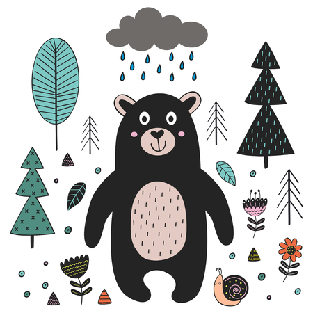 Bear in forest Scandinavian style. Poster, childish print, card - vector illustration, eps Illustration