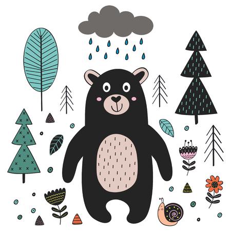 Bear in forest Scandinavian style. Poster, childish print, card - vector illustration, eps Illustration