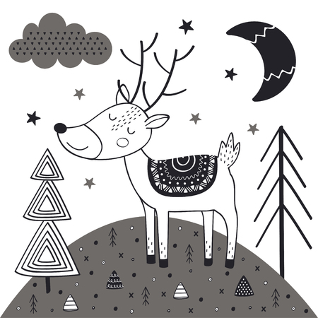 Monochrome deer in Scandinavian style.