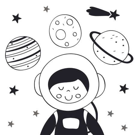 Boy astronaut in space Scandinavian style. Poster, childish print, card - vector illustration.