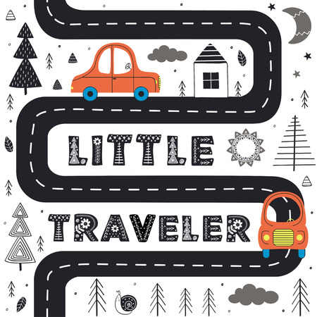 Car on the road in Scandinavian style. Poster, childish print, card - vector illustration, eps Illustration