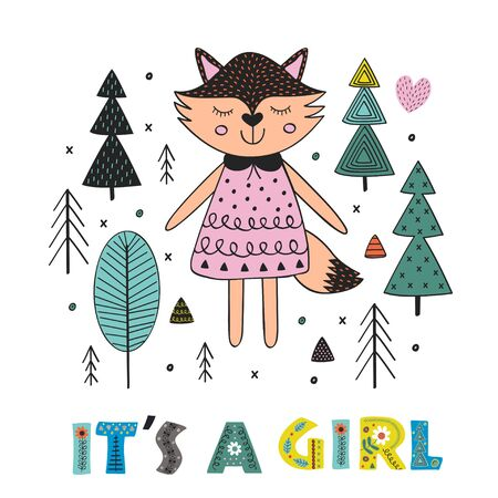 fox girl in the forest Scandinavian style. Poster, childish print, card - vector illustration, eps