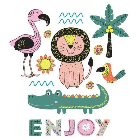 Jungle animal in Scandinavian style poster design.