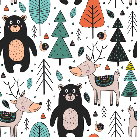 seamless pattern with animals in forest Scandinavian style - vector illustration