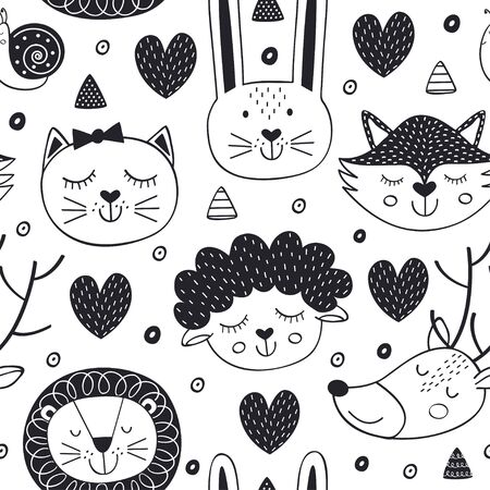 Pattern with head of animal in Scandinavian style.