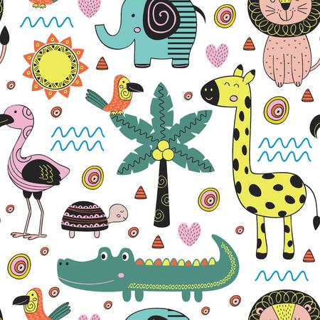 Nahtloses Muster mit Dschungeltieren in der skandinavischen Art - vector Illustration, ENV Standard-Bild - 91515426