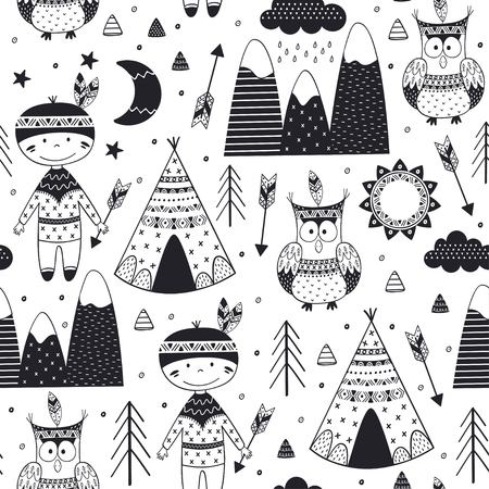 seamless pattern with tribal boy and owl in Scandinavian style - vector illustration, eps