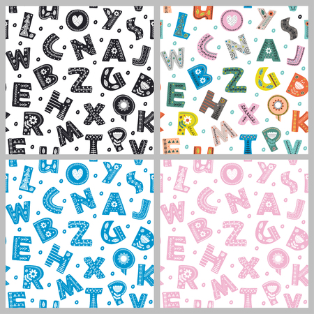 set of seamless pattern with letters in Scandinavian style - vector illustration, eps