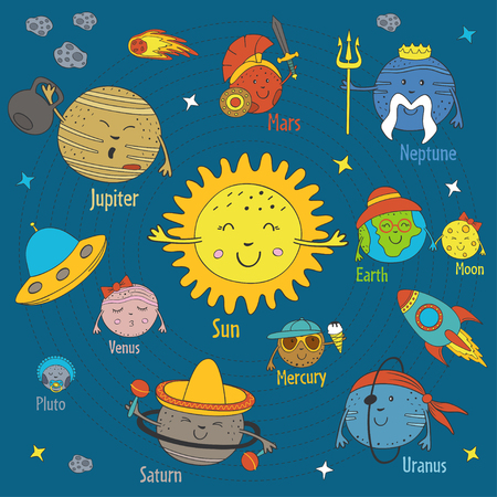 Set of isolated cartoon funny planets of the solar system. Illustration