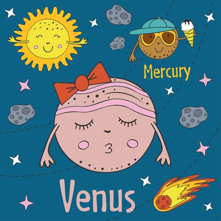 Funny cartoon illustration of Venus, wearing ribbon and Mercury, eating ice cream.