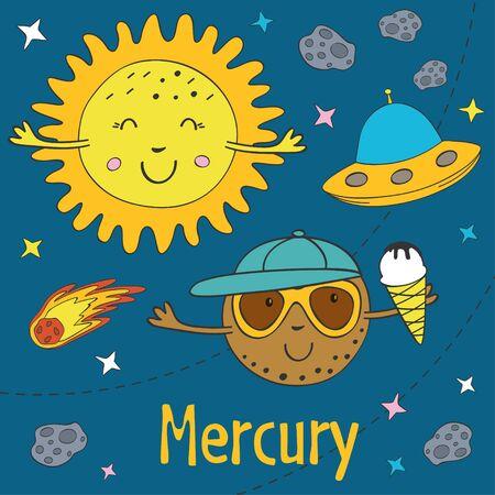 Cartoon funny Mercury with Sun illustration.