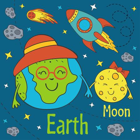 Cartoon funny Earth with moon.