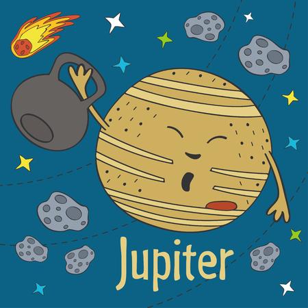 Cartoon funny Jupiter  illustration. Illustration
