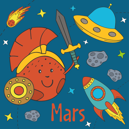 Cartoon funny Mars illustration.