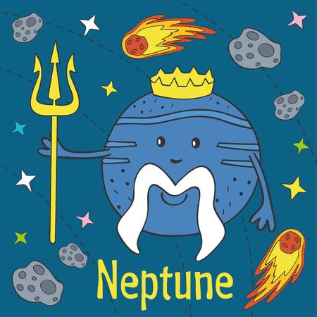 Cartoon funny Neptune illustration. Illustration