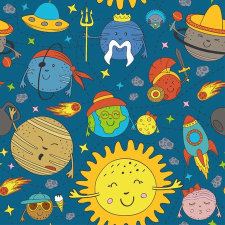 Pattern with cartoon funny solar system illustration.