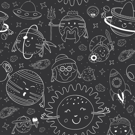 Seamless pattern with black and white cartoon solar system illustration.