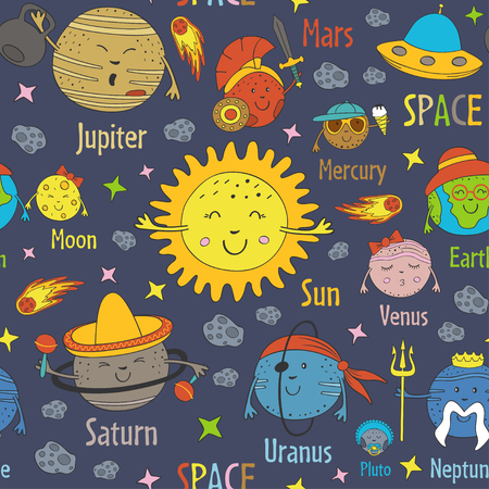 Seamless pattern with cartoon funny solar system and names of planets - vector illustration