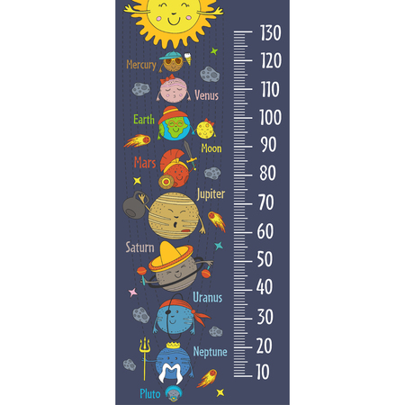 Growth measure with cartoon funny solar system vector illustration. Illustration
