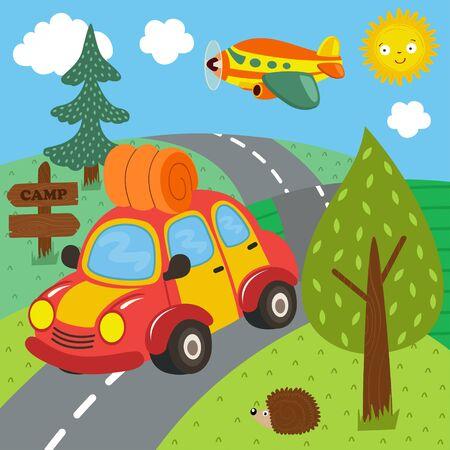 Car trip for outdoor recreation vector illustration.