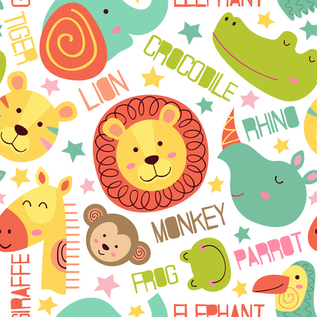 Heads of jungle animals in seamless pattern cartoon illustration. Illustration