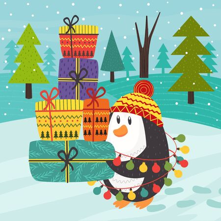 Penguin carries many gifts - vector illustration.