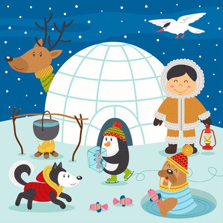 Eskimo boy and arctic animals on North Pole - vector illustration, eps Illustration