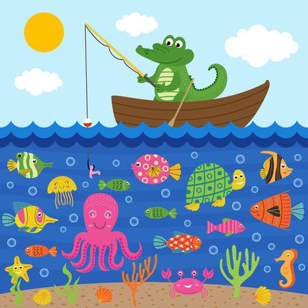 crocodile in boat cat fish - vector illustration. Illustration
