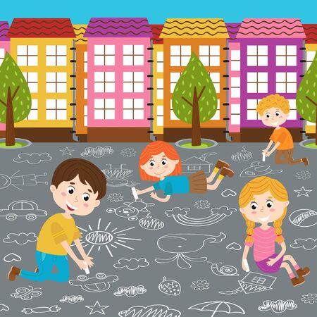 Childrens drawing on asphalt vector illustration.