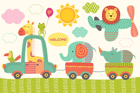 train with baby jungle animals vector illustration. 向量圖像