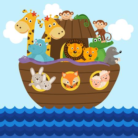 Arca de Noé llena de animales a bordo - ilustración vectorial, eps