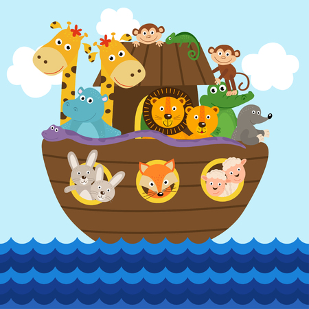 Noah's ark full of animals aboard vector illustration. Stock Illustratie