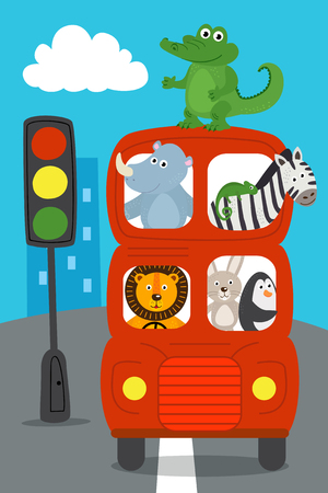london red bus with animals on the road - vector illustration, eps